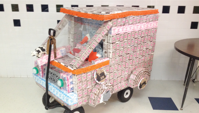milk truck made of milk cartons