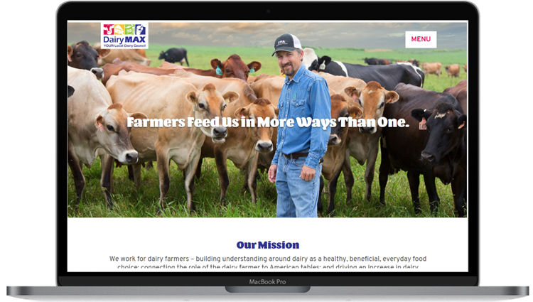 image of the new dairymax.org on a laptop screen