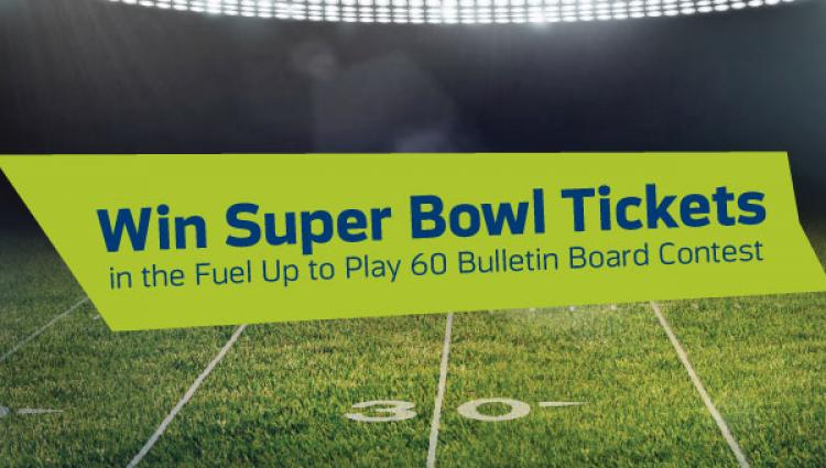 "sign that says ""Win Super Bowl tickets"""