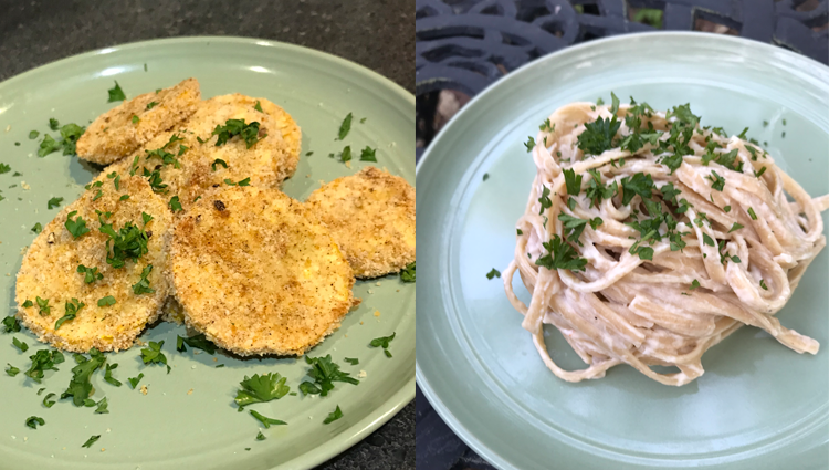 two of the dishes from the virtual cooking class