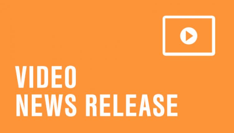 "orange background with ""video news release"" written on it"